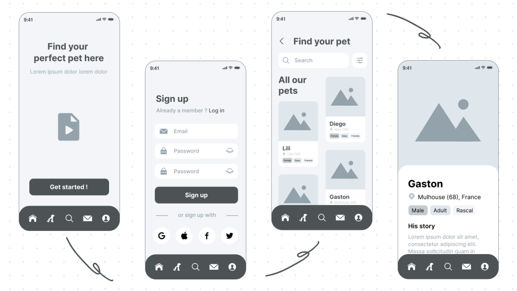 Case study UX Design -- Wireframes_Adopte ton animal by Paulette Studio - iPaulette